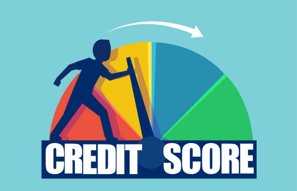 credit score concept. vector of a businessman pushing scale changing credit information from poor to good. - credit score stock illustrations, clip art, cartoons, & icons