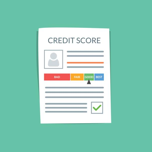 credit score document vector concept. personal credit history of the customer on a paper sheet. good index of credit history and approved stamp. flat vector illustration isolated on color background. - credit score stock illustrations, clip art, cartoons, & icons
