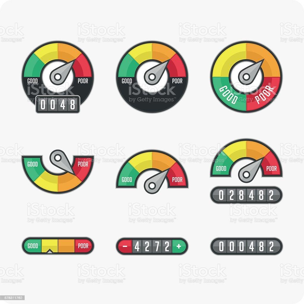 Credit score indicators and gauges. vector art illustration