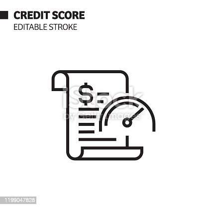 Credit Score Line Icon, Outline Vector Symbol Illustration. Pixel Perfect, Editable Stroke.