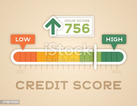 Credit score slider bar showing low and high credit scores and credit rating. EPS 10 file. Transparency effects used on highlight elements.