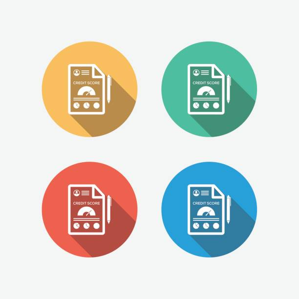 credit score multi colored flat icon - credit score stock illustrations, clip art, cartoons, & icons