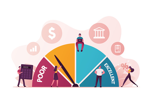 Credit Score Rating Based on Debt Reports Showing Creditworthiness or Risk of Individuals for Student Loan, Mortgage and Payment Cards. Characters Choose Credit. Cartoon People Vector Illustration