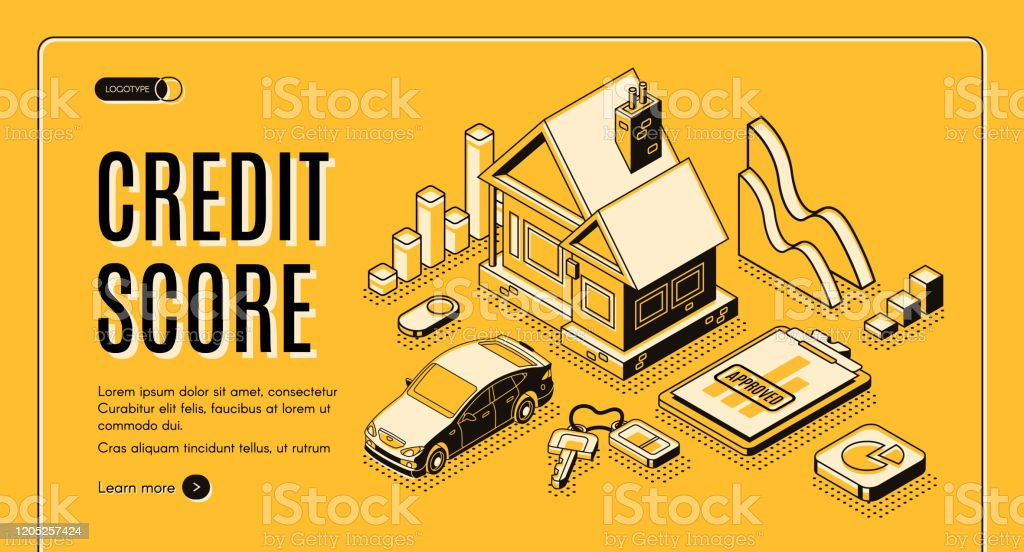 Credit score service isometric vector website Bank consumer credit isometric vector promo web banner with cottage house, car, approved loan application document line art illustration. Personal credit rating score service landing page template Agreement stock vector