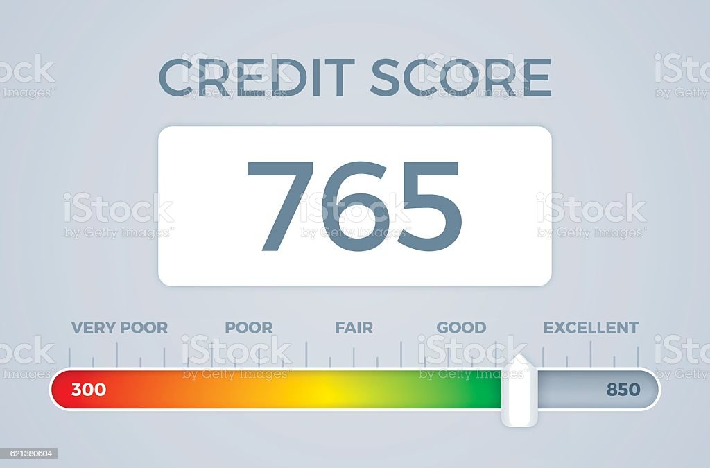 Credit Score Slider vector art illustration