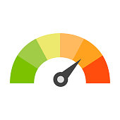 Credit score speedometer icon. Vector eps10 illustration
