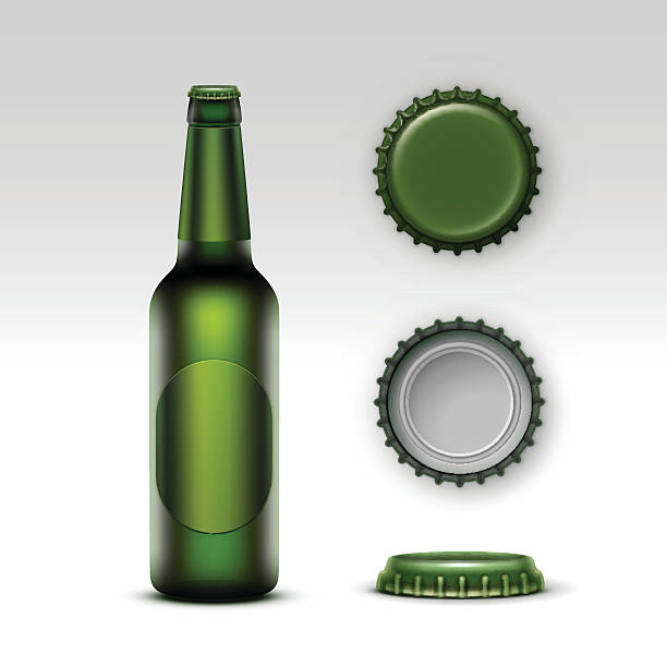 stockillustraties, clipart, cartoons en iconen met creen bottle beer with green label and set of caps - bierfles