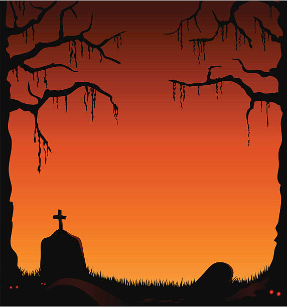 Creepy abandoned graveyard with orange sky vector art illustration