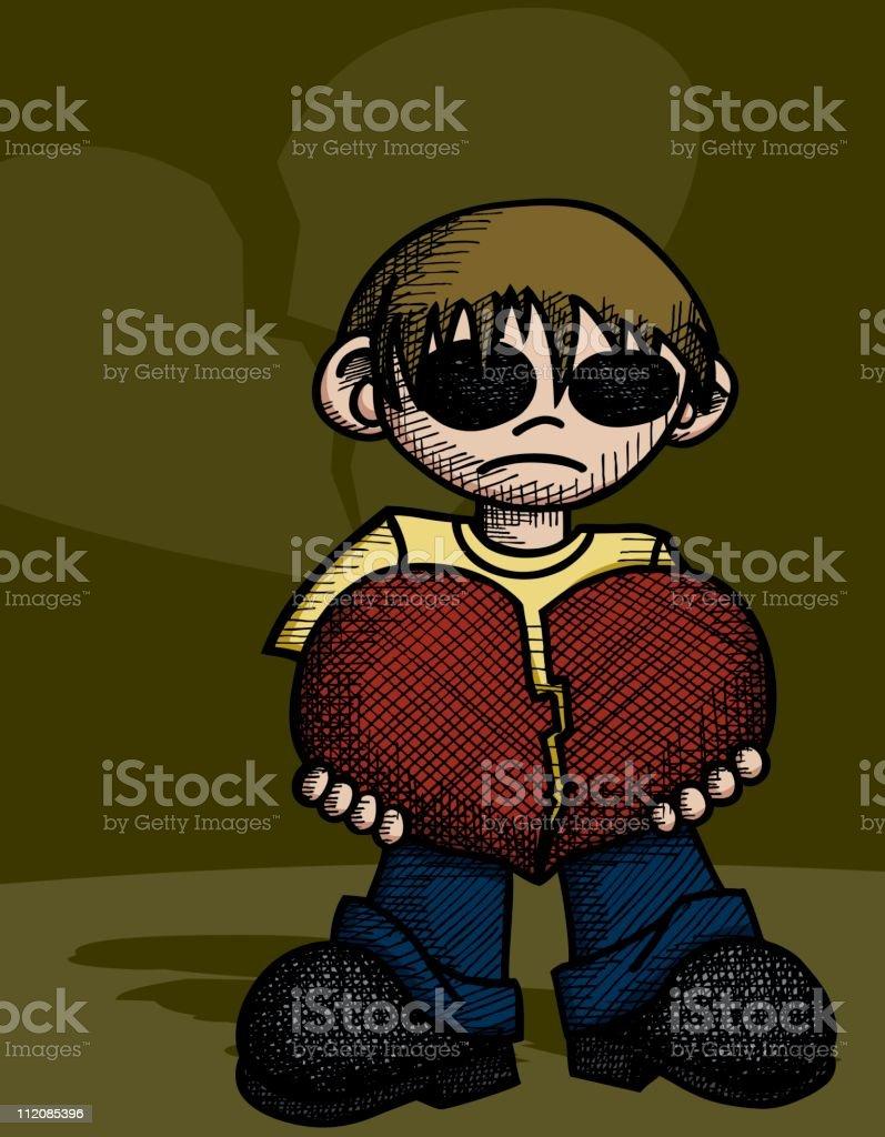 Creepy Boy With A Broken Heart Stock Vector Art More Images Of
