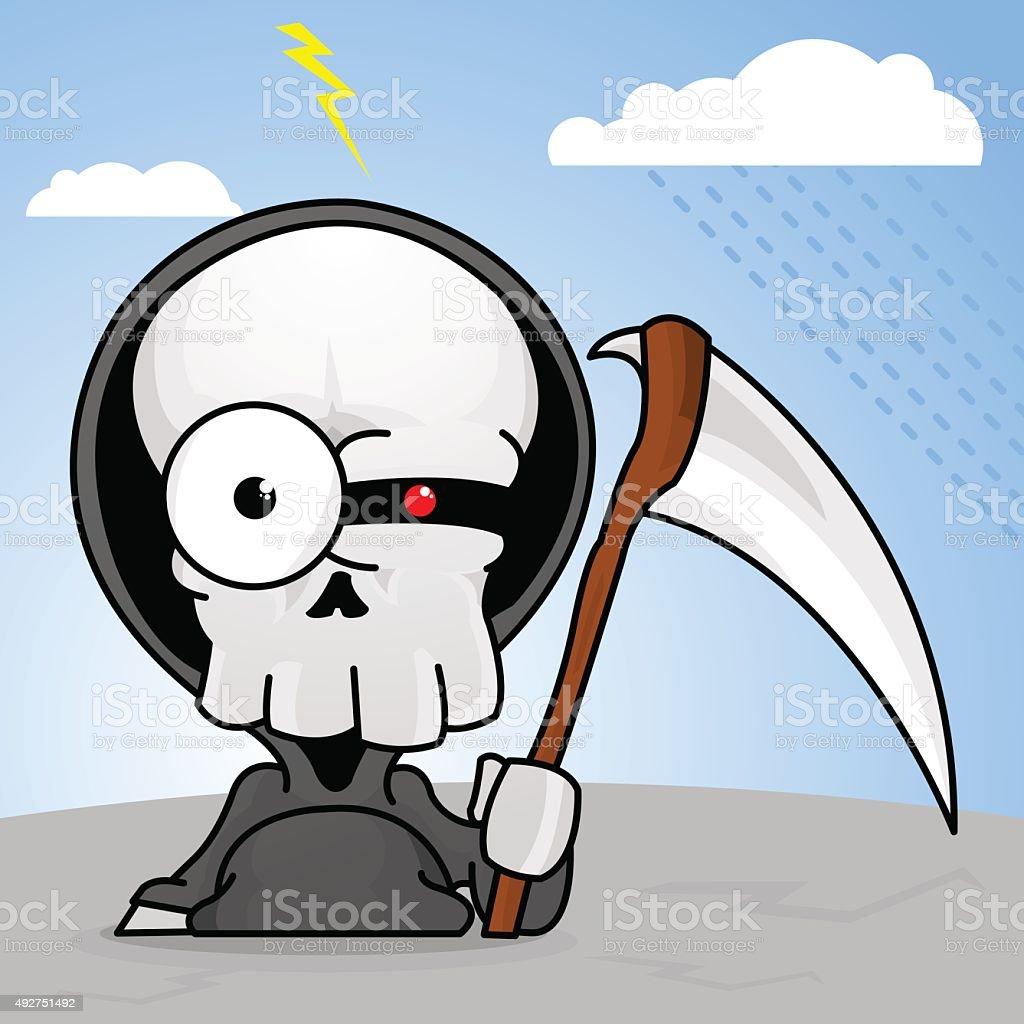 Creepy Cartoon Grim Reaper vector art illustration