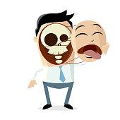 creepy cartoon illustration of a man pulling of his face