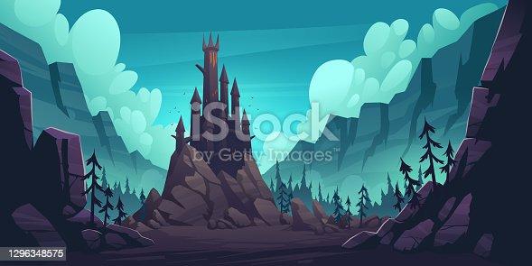 istock Creepy castle on rock at night, haunted palace 1296348575