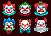 Creepy clown faces set. Scary circus concept. Vector Halloween collection.