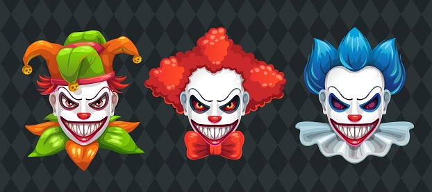 Creepy clown faces set. Spooky Halloween masks with angry smile.