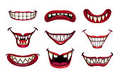 istock Creepy clown mouths set. Scary smile with jaws and red lips 1172418435