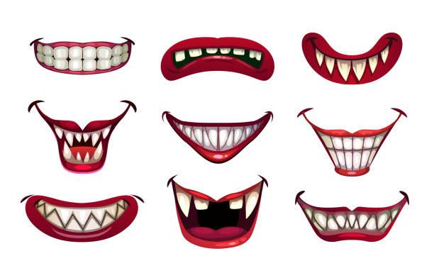 illustrazioni stock, clip art, cartoni animati e icone di tendenza di inquietante bocca pagliaccio set. sorriso spaventoso con mascelle e labbra rosse - malvagità