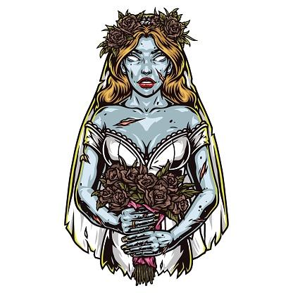 Creepy dead bride in wedding dress
