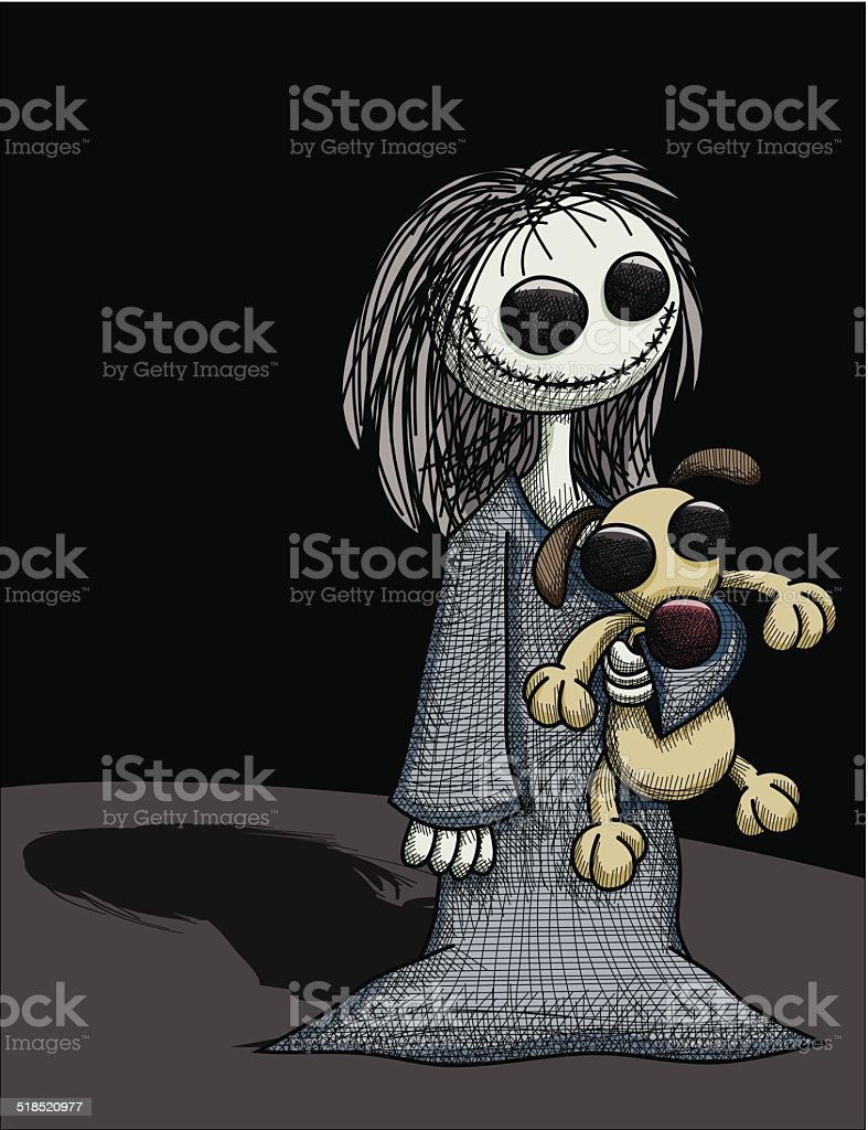 Creepy Girl with Creepy Puppy royalty-free creepy girl with creepy puppy stock vector art & more images of adult
