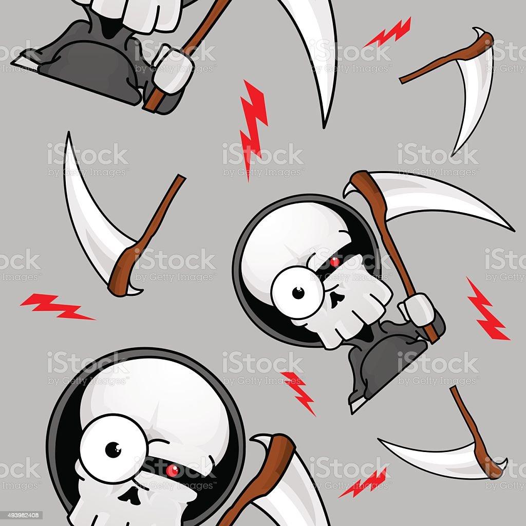 Creepy Grim Reaper Seamless Pattern vector art illustration