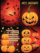Creepy Halloween Background Template Set - Red