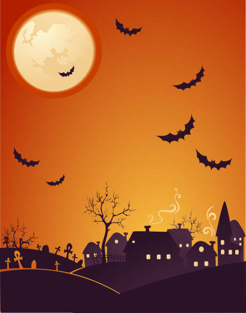 Creepy Halloween background  spooky halloween town stock illustrations