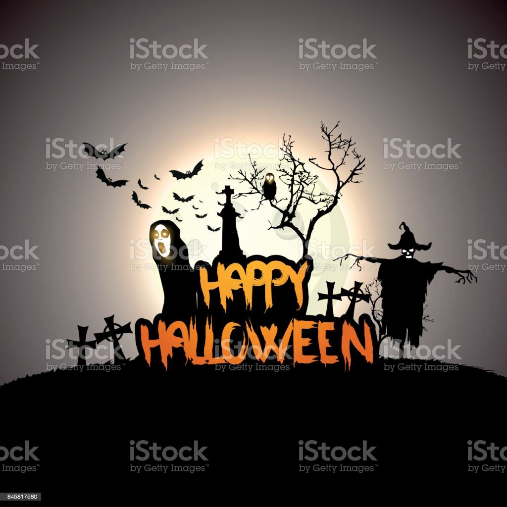 Creepy Halloween Background with Full Moon and Scary Mysterious Creatures. Vector Illustration vector art illustration