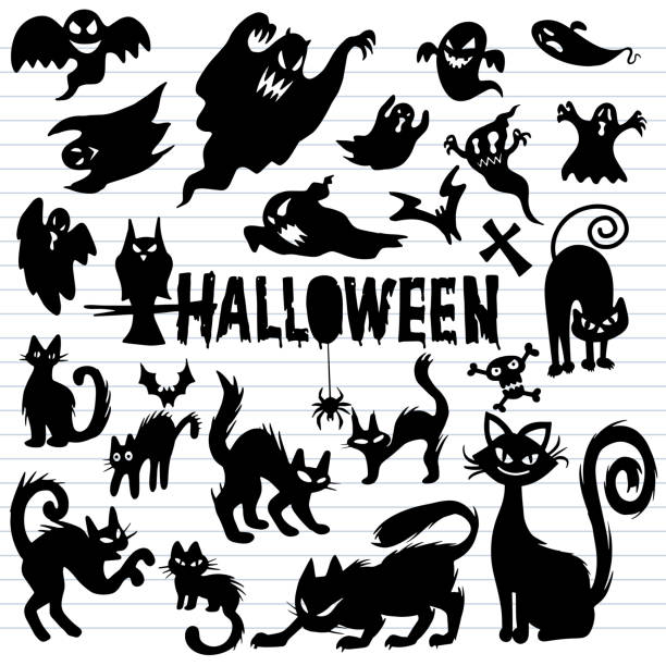 Creepy Halloween ghost and black cat silhouettes, Illustrations Creepy Halloween ghost and black cat silhouettes, Illustrations template. Vector design black cat stock illustrations