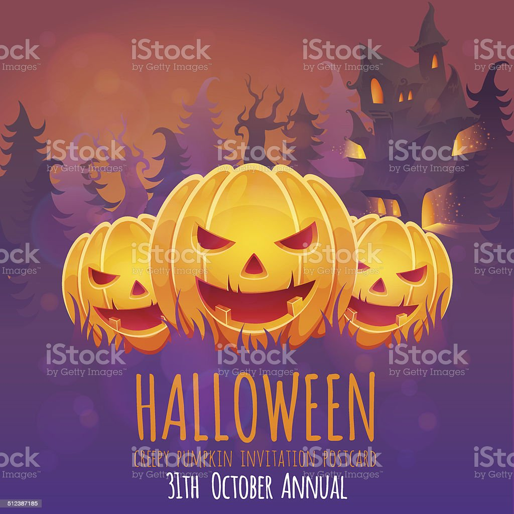 Creepy Halloween Invitation Card With Pumpkins And House