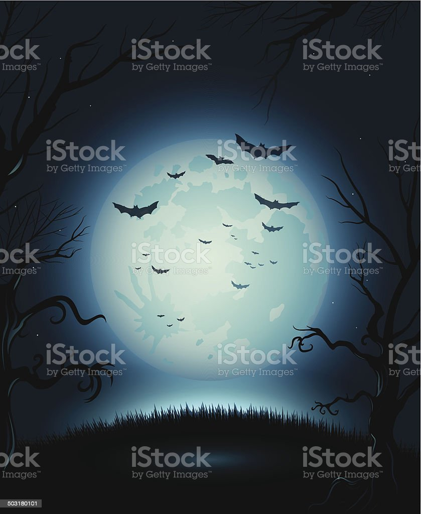 Creepy Halloween night poster full moon copy space vector art illustration
