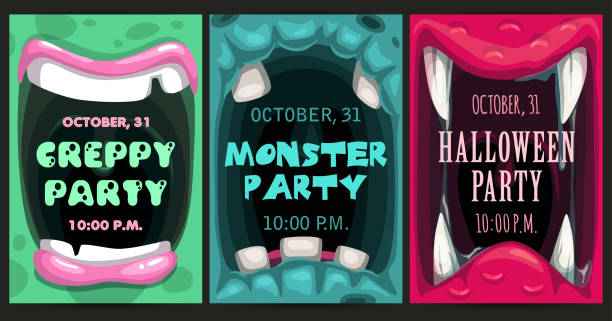 ilustraciones, imágenes clip art, dibujos animados e iconos de stock de volantes de invitación de la fiesta de halloween espeluznantes. set de afiches de boca de monstruo. - monstruo