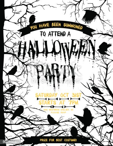 istock Creepy Halloween Party Template With Crows And Ravens 507455927