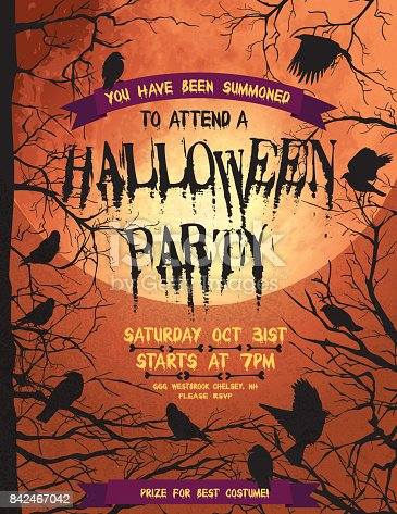 istock Creepy Halloween Party Template With Crows And Ravens 842467042