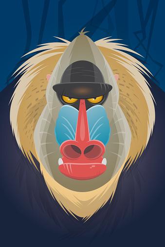 creepy mandrill cartoon illustration