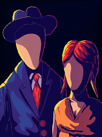Creepy Portrait - Faceless Man and Woman.