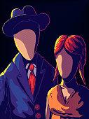 Creepy Hand-Drawn Portrait - Faceless Man and Woman.