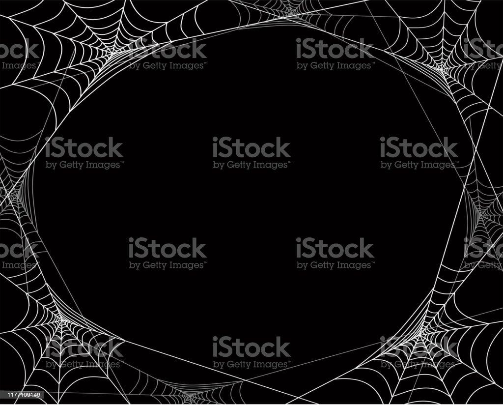 Ragnatele raccapriccianti cornice per poster di feste di Halloween, striscioni web, carte, inviti. - arte vettoriale royalty-free di Banner web