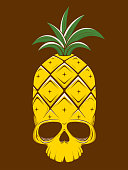 creepy vector illustration of a pineapple skull
