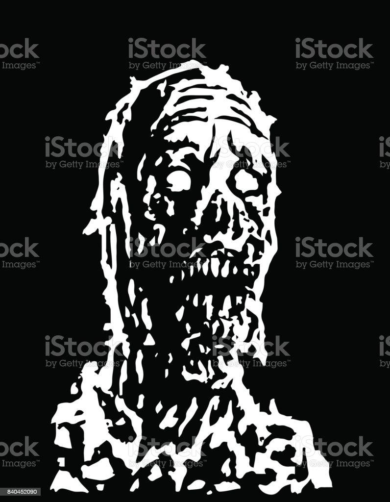 creepy zombie head vector illustration stock vector art 840452090 Zombie Face Wounds creepy zombie head vector illustration royalty free stock vector art