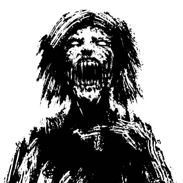 ilustraciones, imágenes clip art, dibujos animados e iconos de stock de cabeza de mujer zombie espeluznante. ilustración de vector. - monstruo