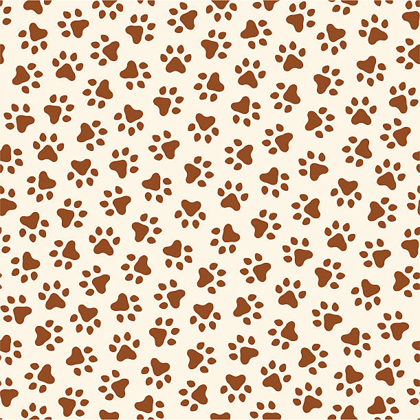 Creme and brown seamless paw print pattern vector art illustration