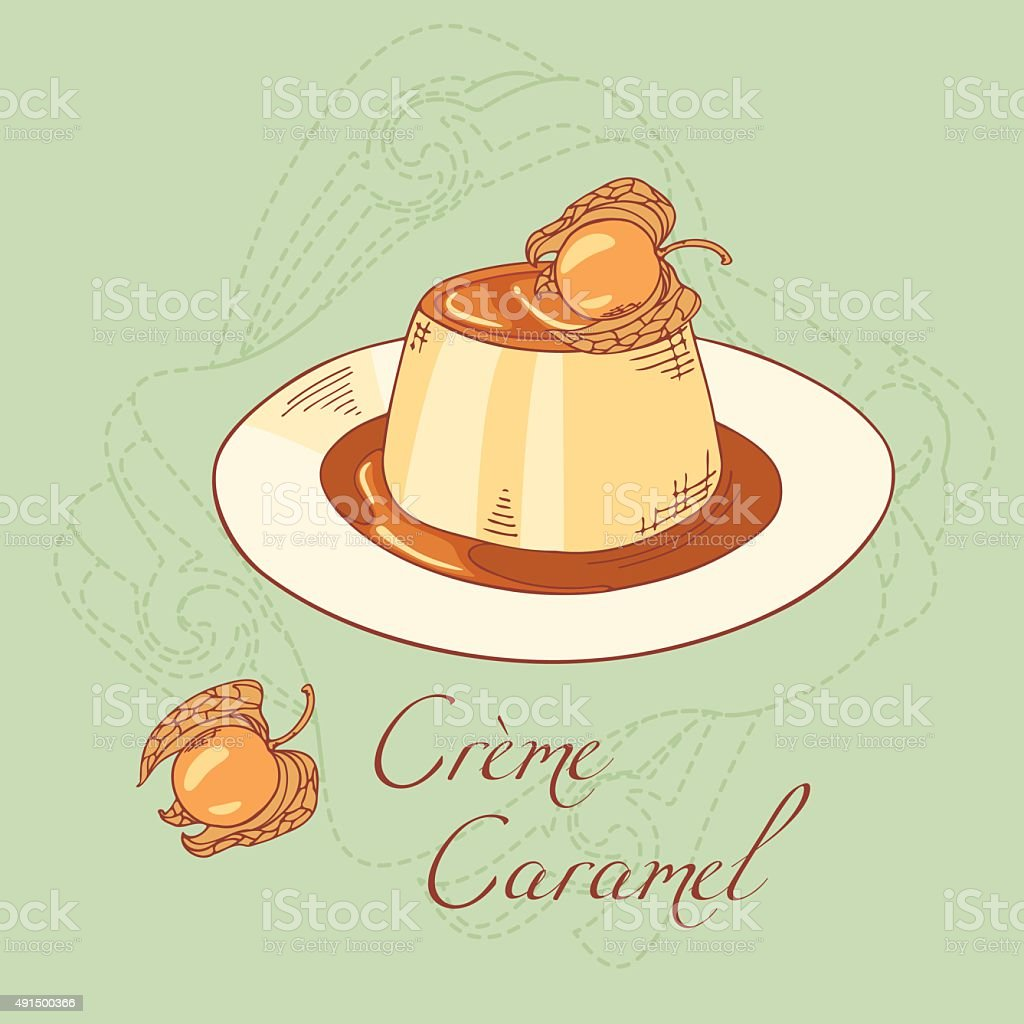 Creme caramel dessert isolated in vector vector art illustration
