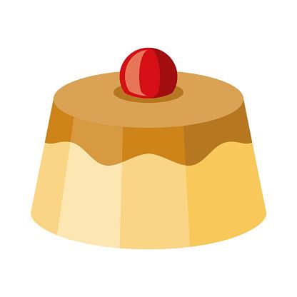 Creme Caramel Icon on Transparent Background