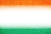 A horizontal vector illustration of tricoloured three bands in saffron, white and green colors. The orange and green at the top and bottom, blend into the off white central band. A peaceful patriotic theme faded wallpaper. Apt for use of national festivals of India, Niger and also of Ireland and Côte d'Ivoire (Ivory Coast).
