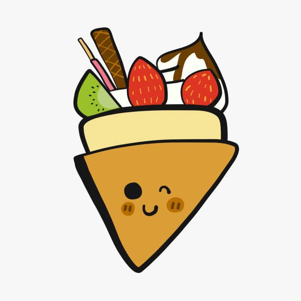 bildbanksillustrationer, clip art samt tecknat material och ikoner med crepe med frukt och visp grädde tecknad doodle vektorillustration - crepe