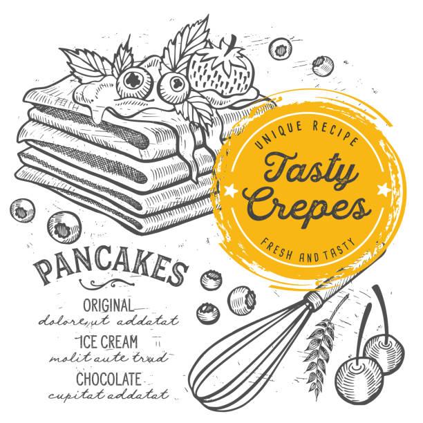 bildbanksillustrationer, clip art samt tecknat material och ikoner med crepes meny restaurang, mat mall. - crepe