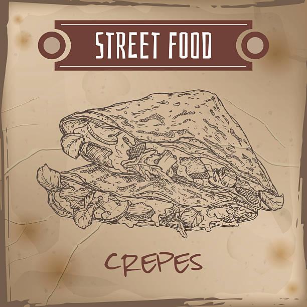 bildbanksillustrationer, clip art samt tecknat material och ikoner med crepes with meat, cheese and mushrooms sketch on grunge background - crepe