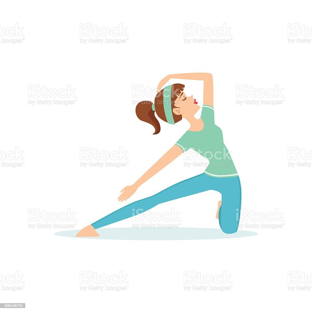 Crescent Lunge Yoga Pose Demonstrated By The Girl vector art illustration