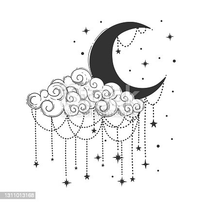 Crescent moon and cloud with decorations and stars. Celestial symbols for tarot, astrology, t-shirt printing. Womens vintage boho tattoo. Vector line drawing art
