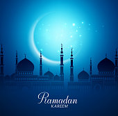 Crescent Moon and Silhouette Mosque in the Bright Night for Ramadan Kareem Background. Vector Illustration