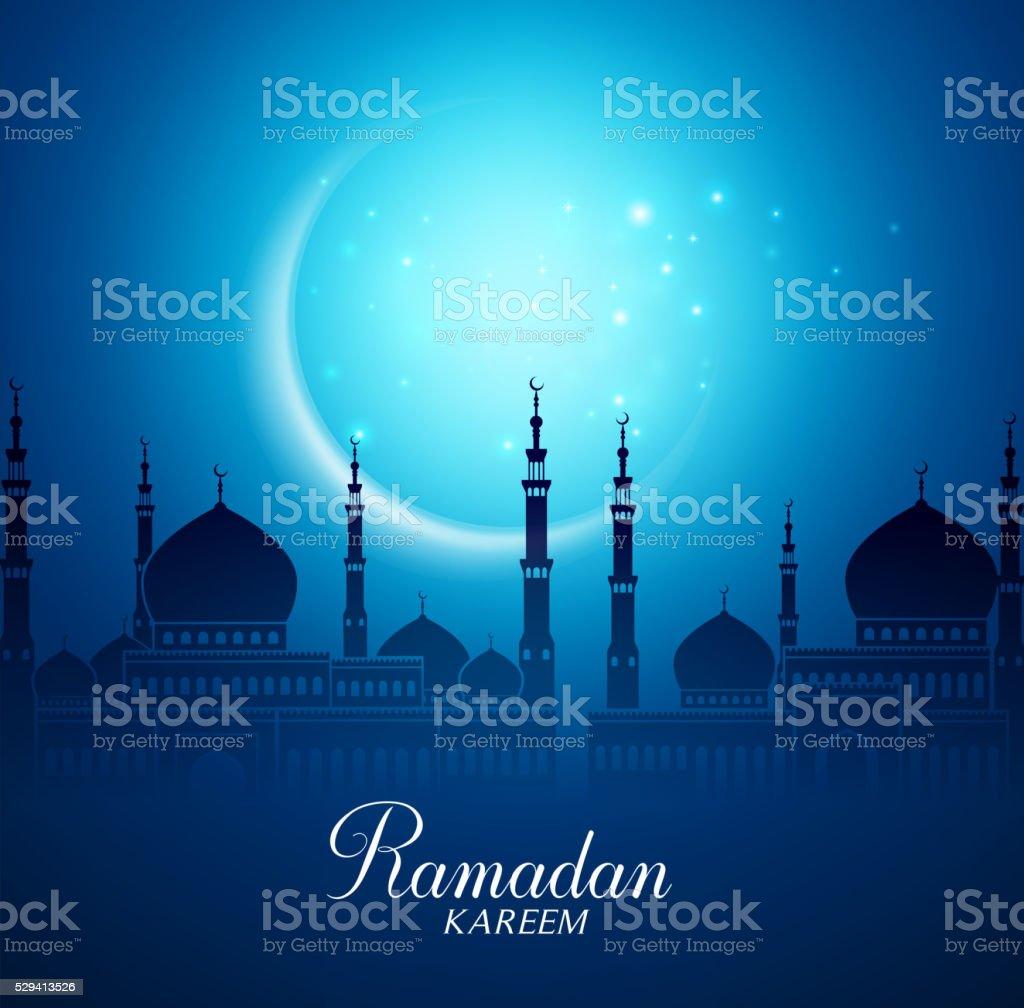 Media Luna Roja Luna y Silueta mezquita de fondo Ramadán - ilustración de arte vectorial
